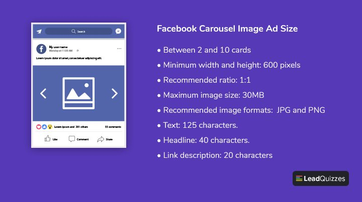 Facebook Carousel Image Ad Size