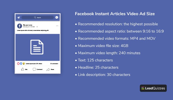 Facebook Instant Articles Video Ad Size