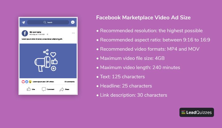 Facebook Marketplace Video Ad Size