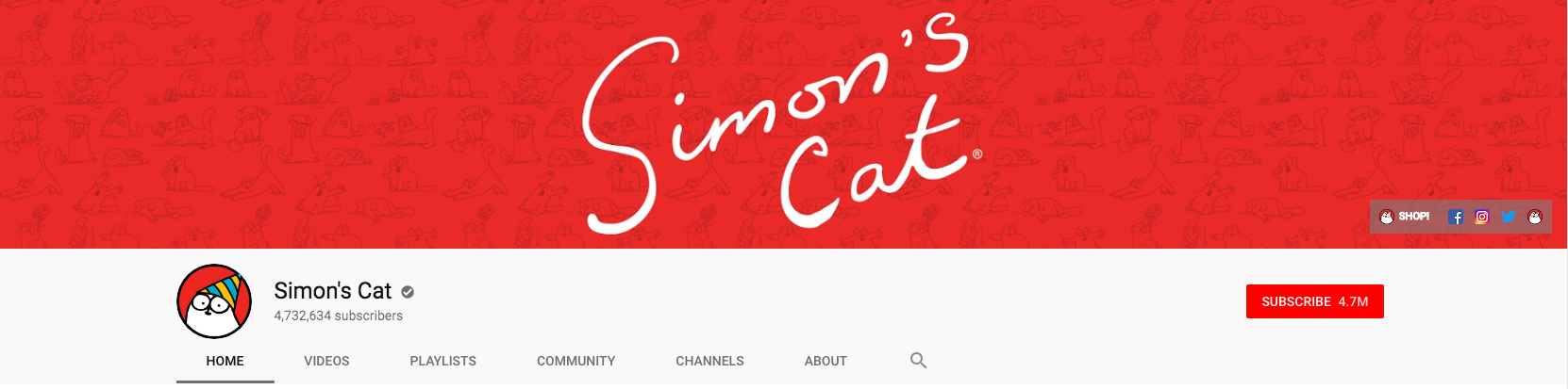 YouTube banner for Simon's Cat channel