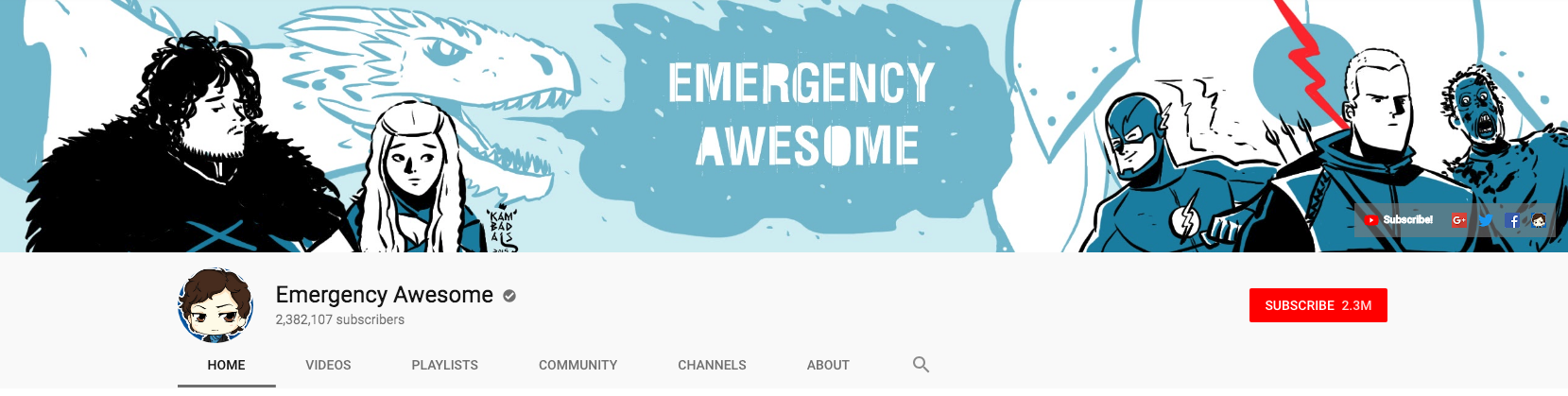 YouTube banner for Emergency Awesome channel.
