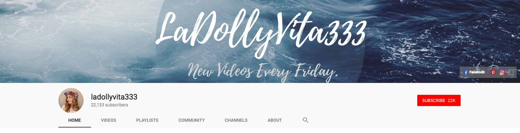 YouTube banner for LaDollyVita333 channel.