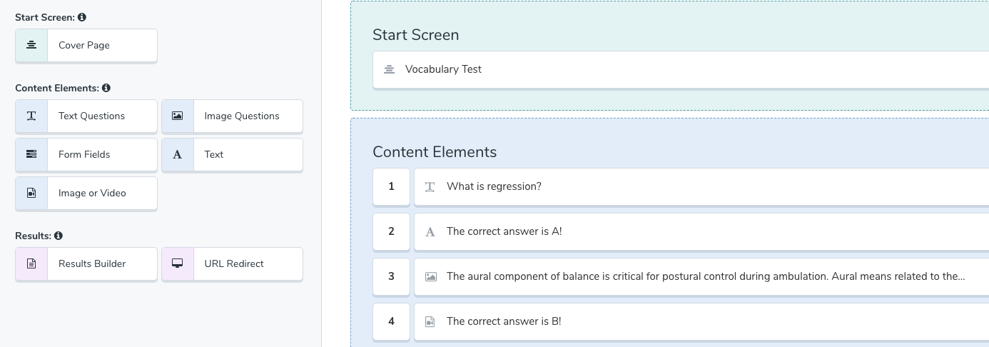 Quiz in content builder