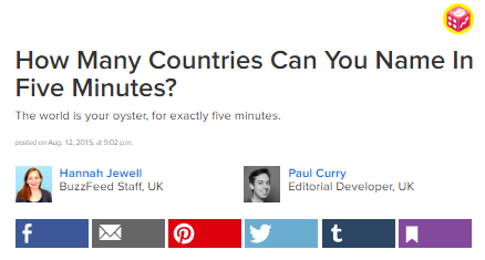 Buzzfeed Quiz How Many Countries Can You Name in Five Minutes