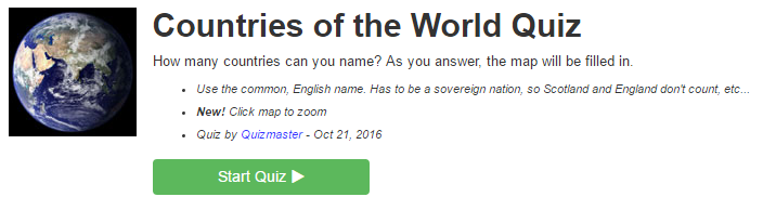 Buzzfeed Quiz Countries of the World
