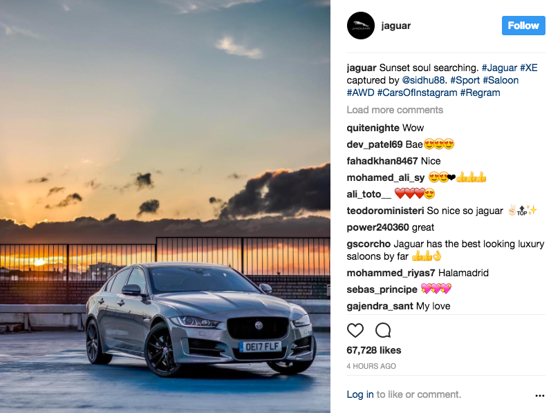 @jaguar Instagram example