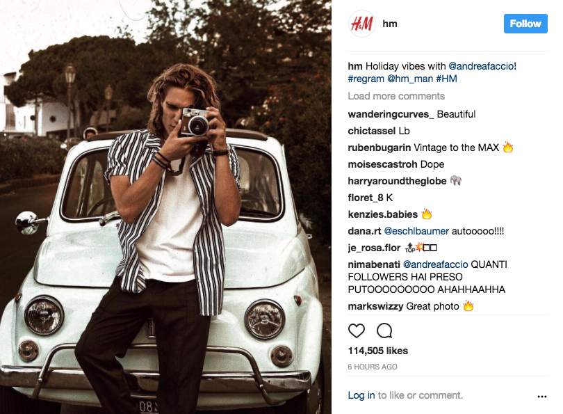 @hm Instagram example
