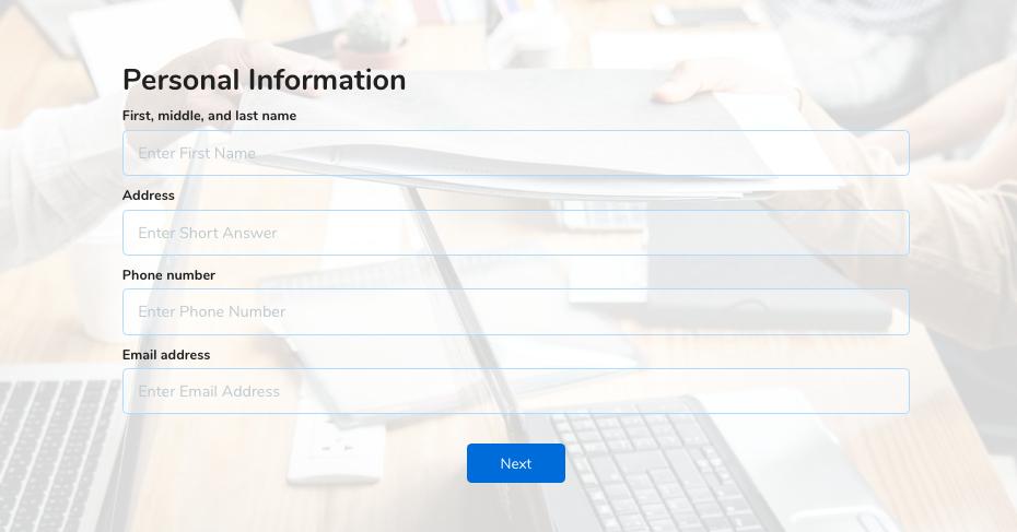 employee application form