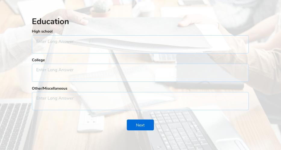 employee application form education