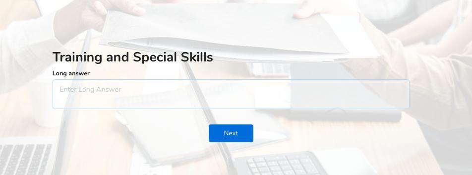 job application form training and skills