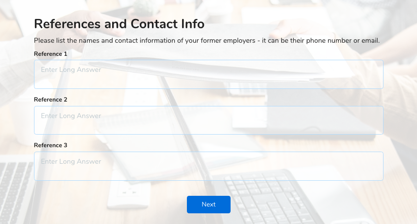 employee application form references