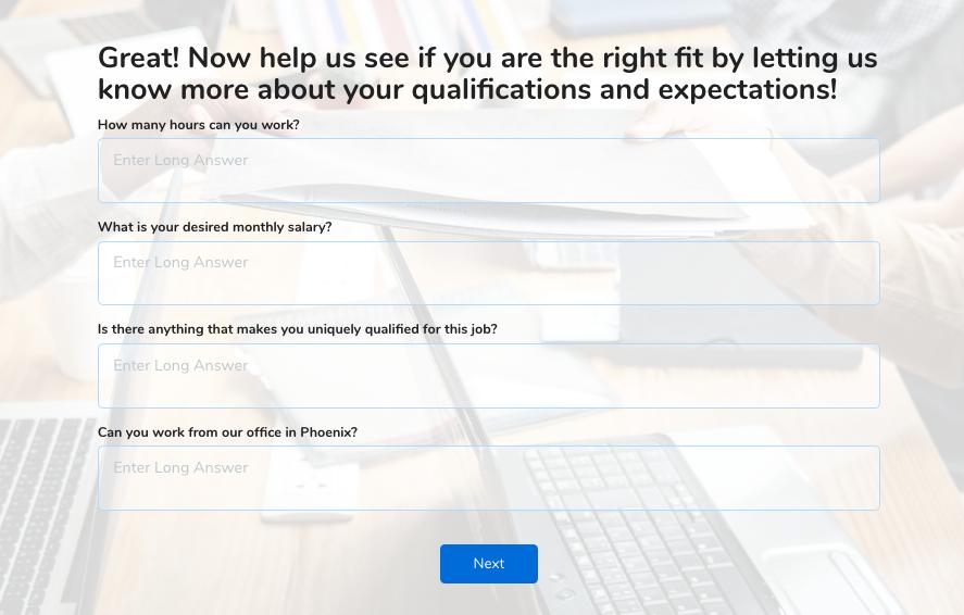 job application form additional questions