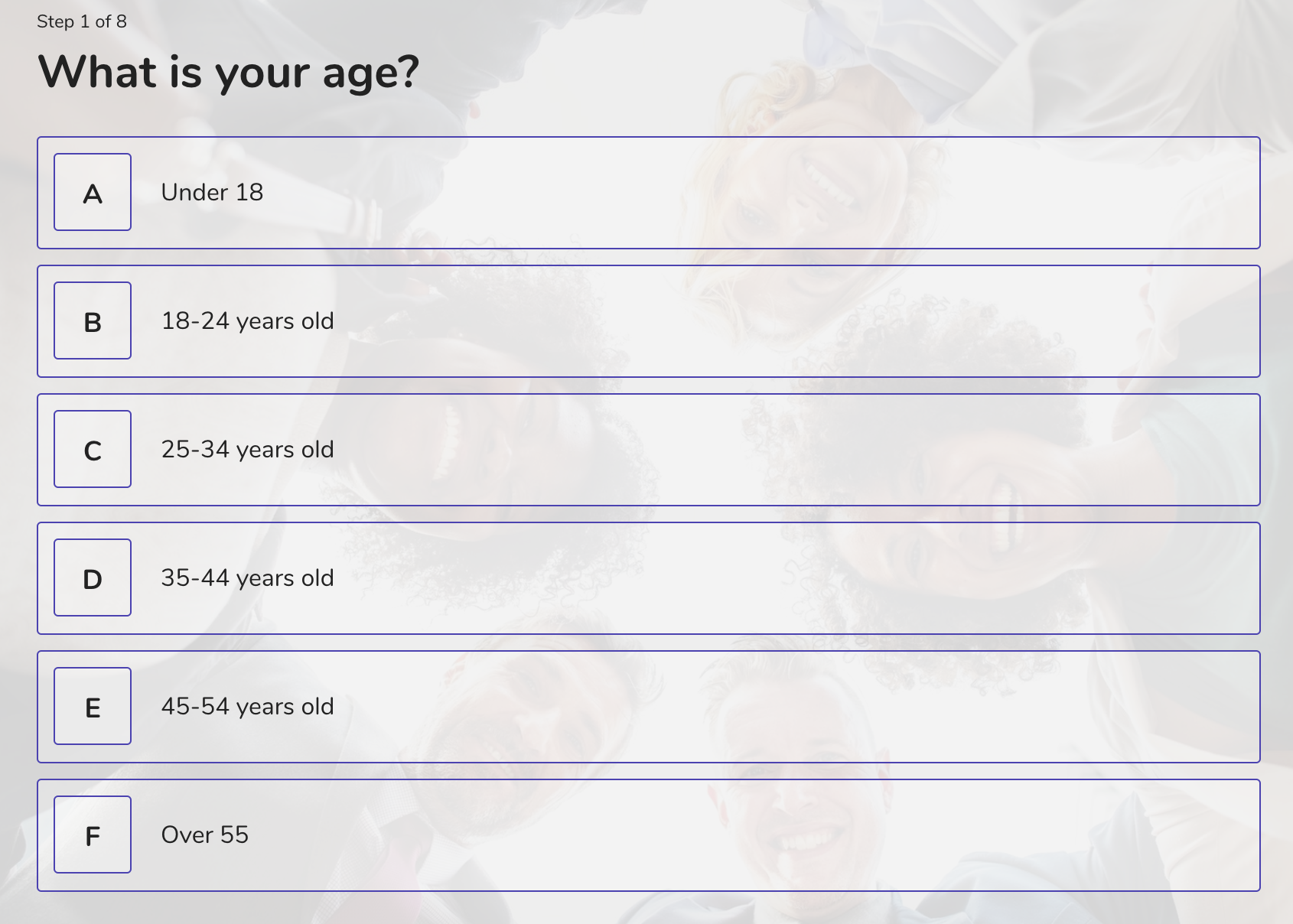 demographic question example - age
