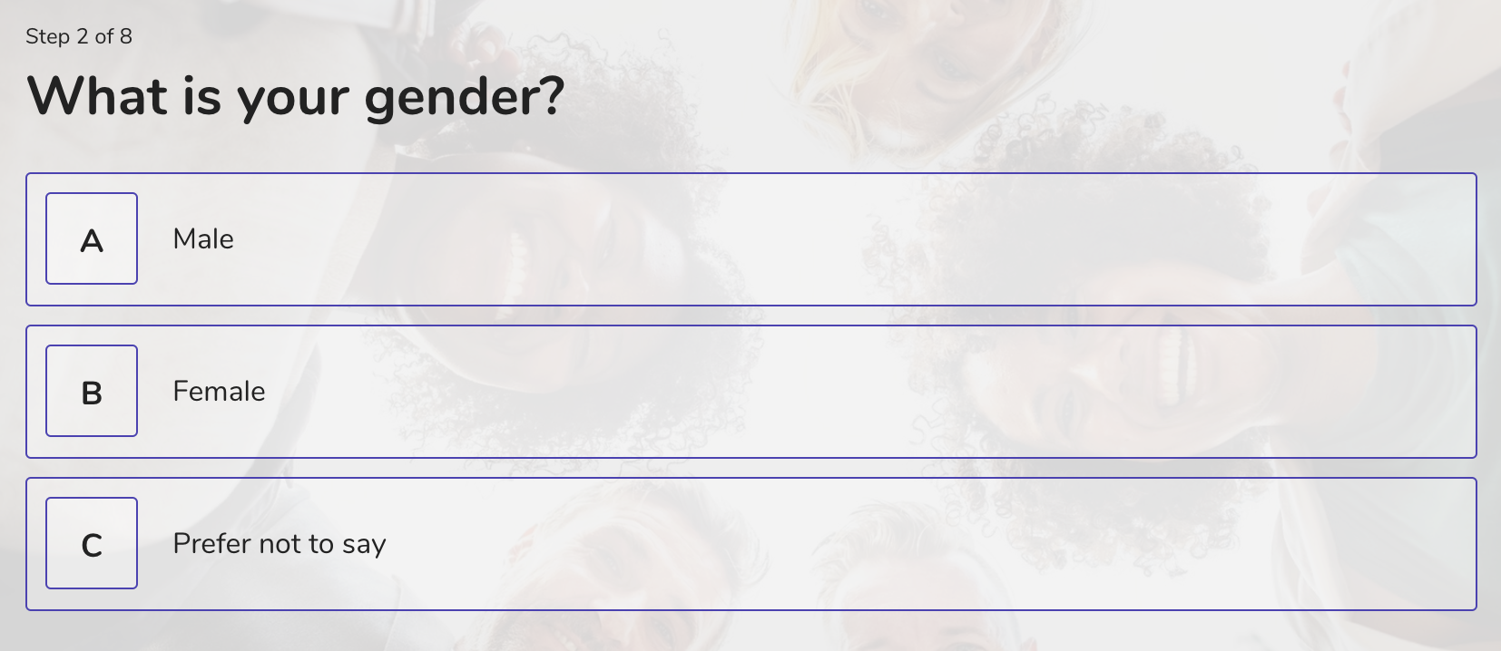 demographic question example - gender