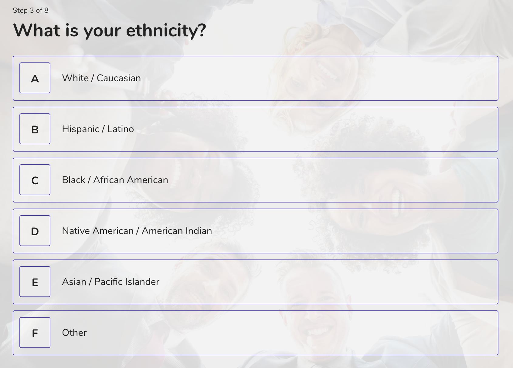 demographic question example - ethnicity