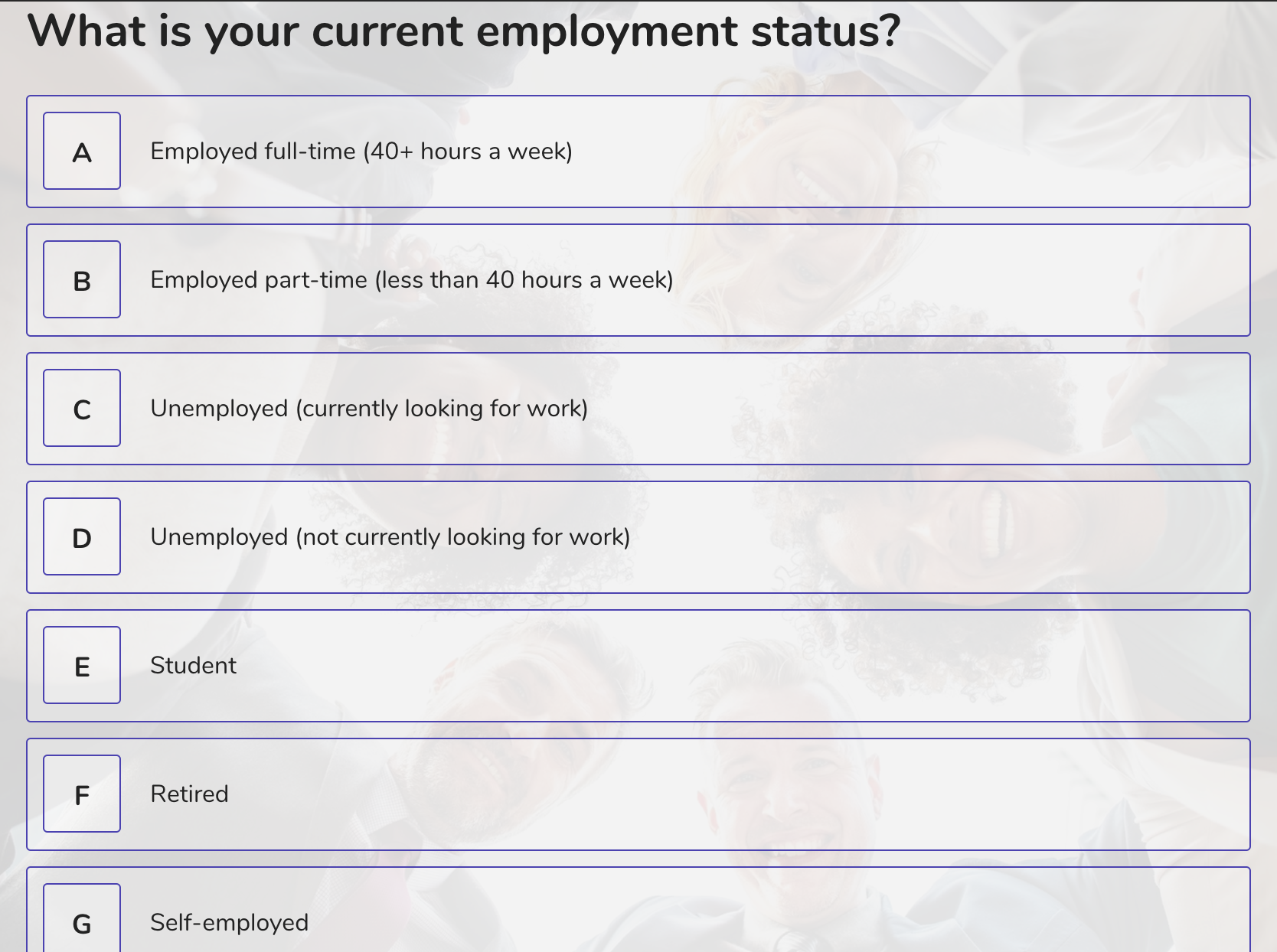 demographic question example - employment