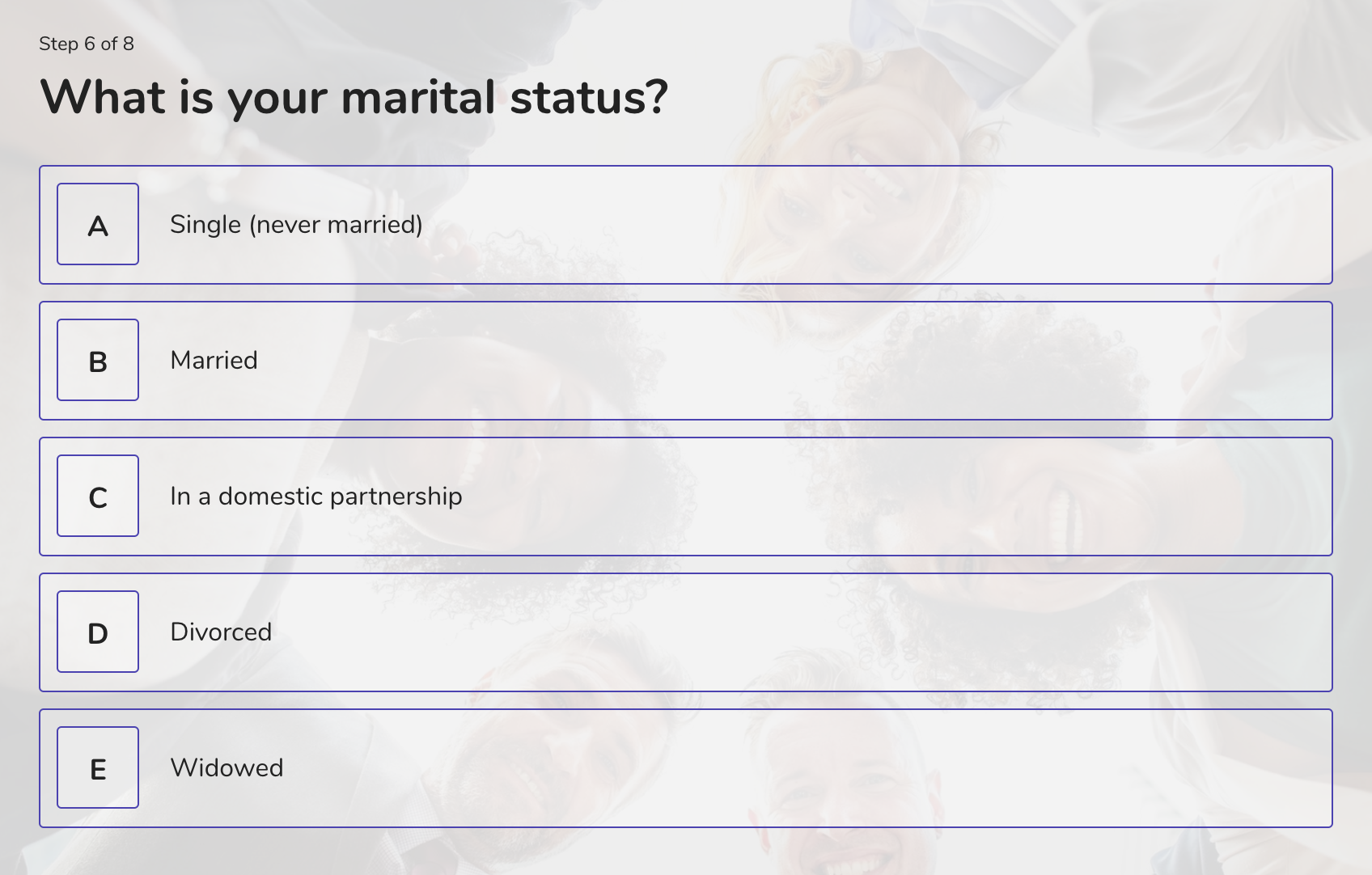 demographic question example - marital status