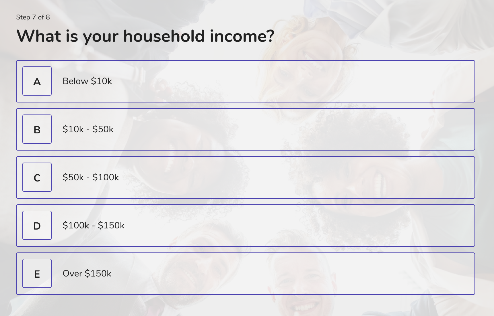 demographic question example - household