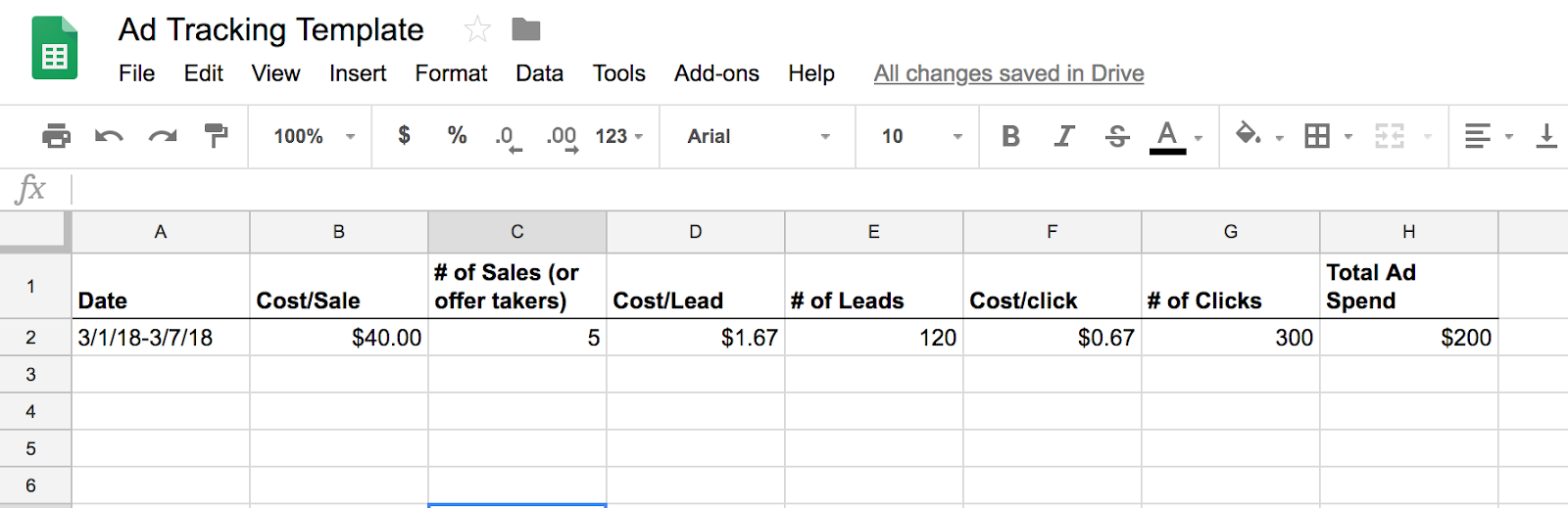 Ad Tracking Template Google Sheets