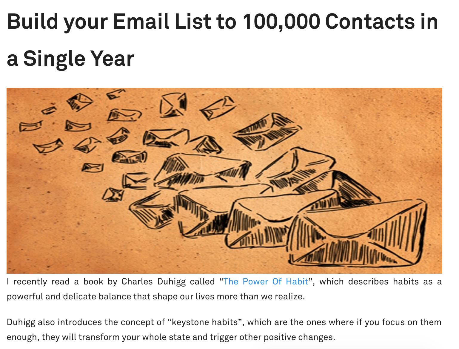 Build your Email List to 100 000 Contacts in a Single Year Blog Post