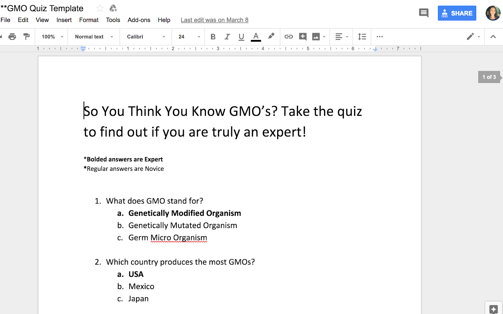 GMO Quiz Template Google Docs