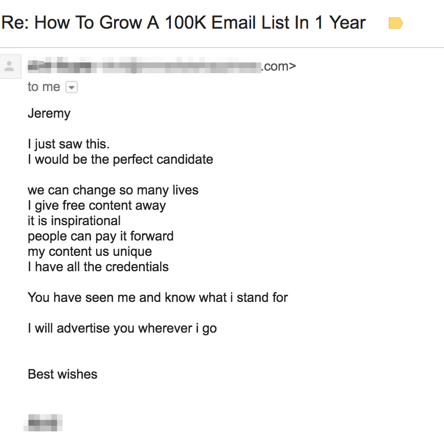 Re How To Grow A 100K Email List In 1 Year Sales Email 2
