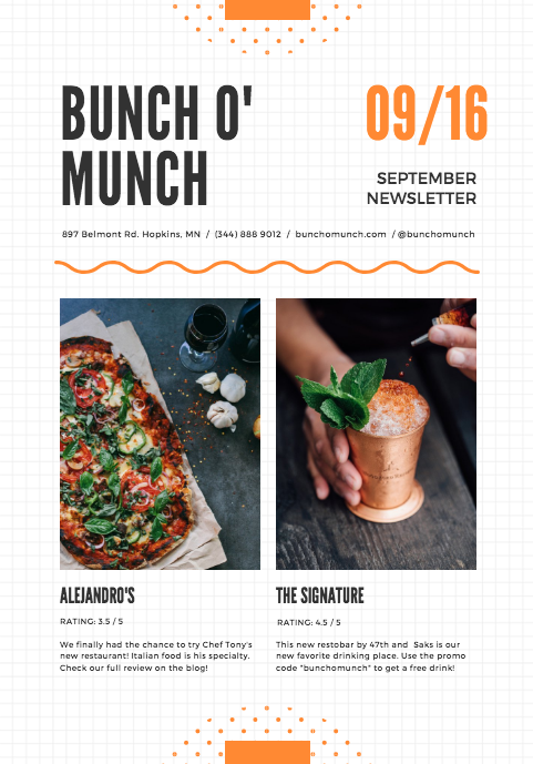 Food blog newsletter