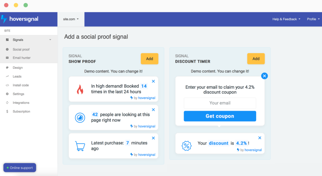 Best Shopify apps - Hover Signal