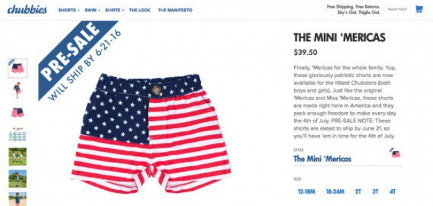 Chubbies limited-time offer