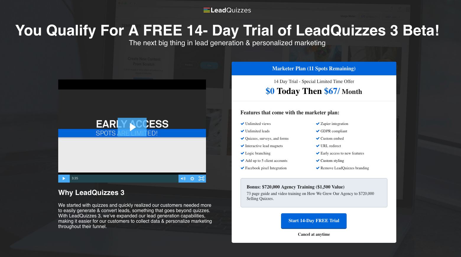 Leadquizzes landing page
