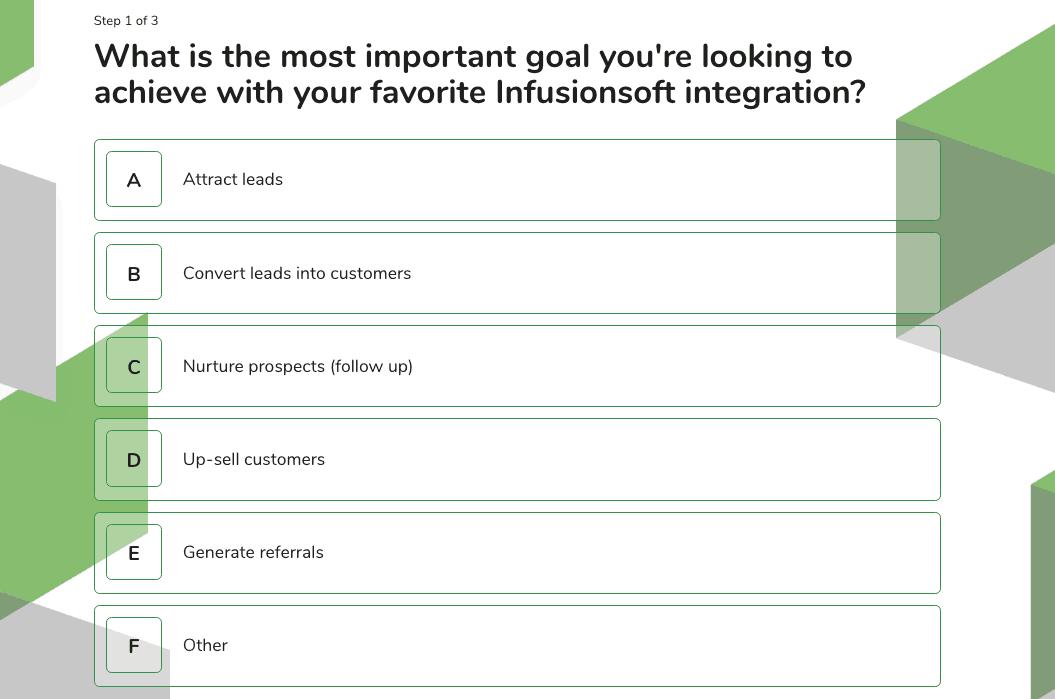 2019 LeadQuizzes Infusionsoft Marketplace Survey Question