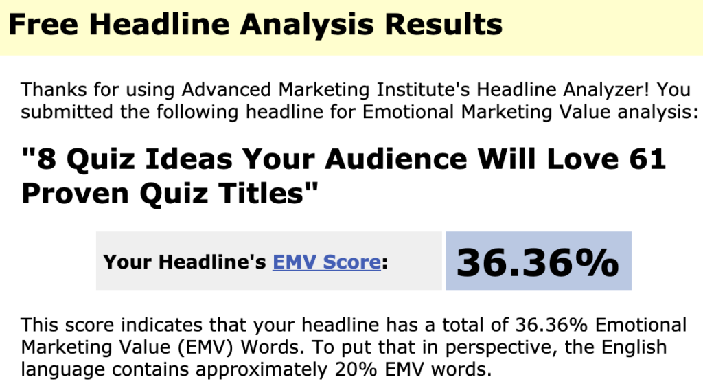 EMV Headline Score