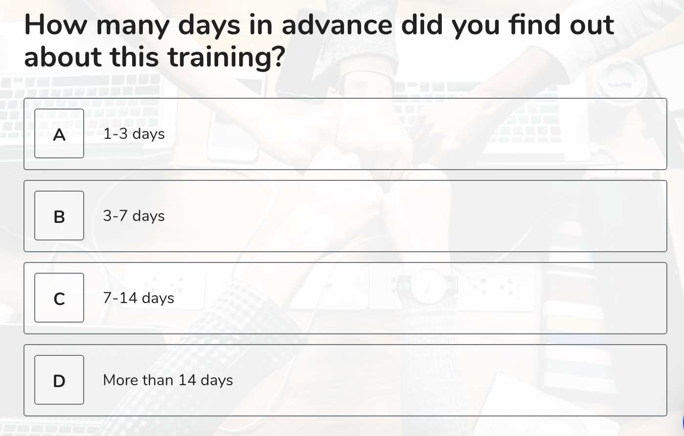 training survey questions 2