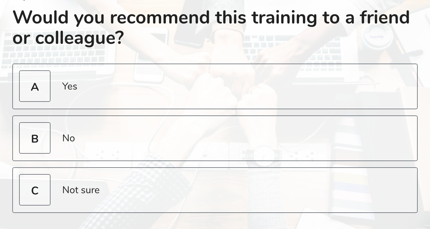 training survey questions 5